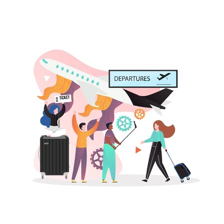 Airport departure and arrivals concept vector illustration. Plane, tourists male and female characters with ticket, luggage, suitcase. Airlines services, travel by air composition for web banner etc.
