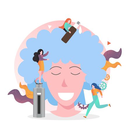 Huge woman head and micro characters hairdressers washing her hair with shampoo, vector illustration. Hairdressing salon services concept for web banner, website page etc.