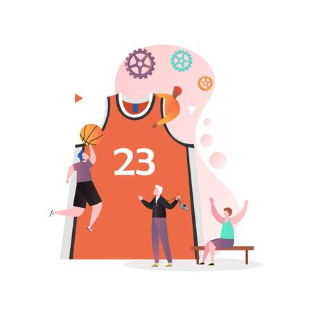 Huge basketball shirt and micro male characters players professional athletes playing basketball, vector illustration. Basketball game concept for web banner, website page etc.