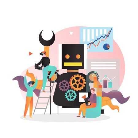 Vector illustration of huge robot, micro male characters taking gaming experience in vr headset, playing video games using game controllers. Smart modern gadgets concept for web banner, website page.