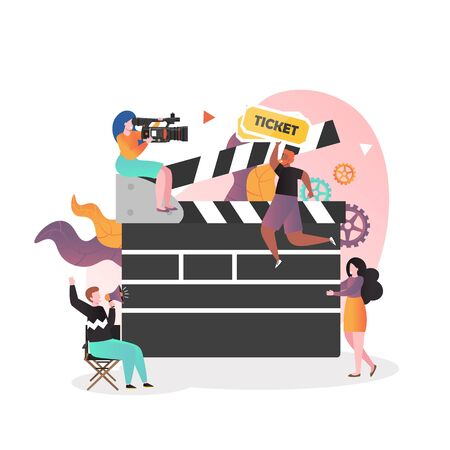 Movie production scene vector illustration. Huge clapperboard and micro characters shooting film. Cinematography, movie industry, filmmaking concept for web banner, website page etc. Vektorové ilustrace