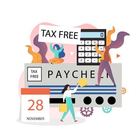 Personnages féminins faisant des achats hors taxes à l'étranger et obtenant un remboursement d'impôt, illustration vectorielle. Concept de services de remboursement de TVA pour bannière Web, page de site Web, etc.