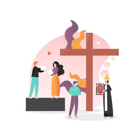 Christian religion vector concept for web banner, website page 일러스트