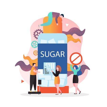 No sugar diet vector concept for web banner, website page