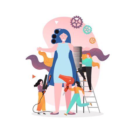 Hairdresser vector concept for web banner, website page Illustration