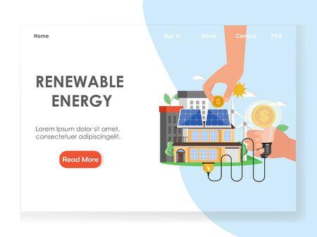 Renewable energy vector website landing page design template Vettoriali
