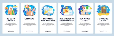 Water park and swimming pool, lifeguard, pool safety rules, changing roo,. Mobile app onboarding screens. Menu vector banner template for website and mobile development. Web site design illustration