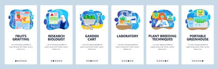 Biology science lab and biotechnology research. Greenhouse, plants breeding lab. Mobile app onboarding screens. Vector banner template for website and mobile development. Web site design illustration Vettoriali