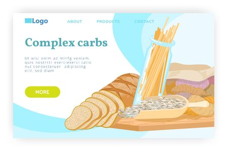 Carbohydrate food concept. Pasta, wheat bread, whole grain, seeds, potato, carbs diet. Vector web site design template. Landing page website concept illustration.