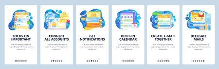 Shared team mailbox and accounts. Task management, business calendar, notifications. Mobile app onboarding screens. Vector banner template for website mobile development. Web site design illustration