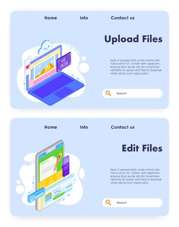 Upload files vector website landing page template set