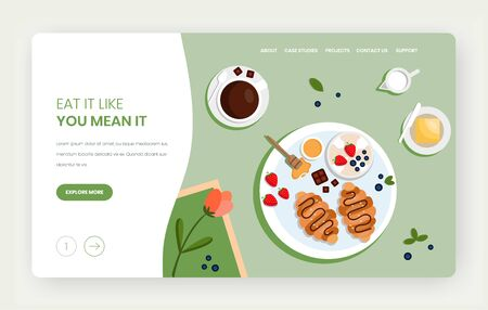 Eat a lot vector website landing page design template