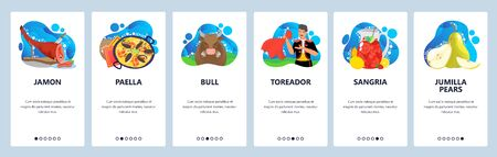 Spain web site and mobile app onboarding screens. Menu banner vector template for website and application development with abstract shapes. Spain culture, traditions, sport of bullfighting and cuisine