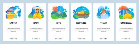 Spring website and mobile app onboarding screens vector template