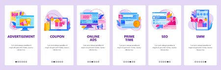 Advertising website and mobile app onboarding screens vector template
