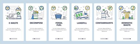 Household waste web site and mobile app onboarding screens. Menu banner vector template for website and application development. Electronic waste, fossil fuel, contaminants. Thin line art flat style.