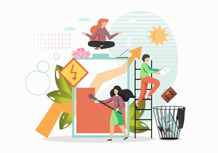 Office yoga and meditation, vector flat illustration. Girl taking rest, meditating sitting in lotus yoga pose, getting energy like charging battery, man throwing computer briefcase in office waste bin