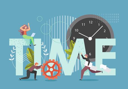 Time in capital letters, huge clock, male and female characters with cogwheel, documents, vector flat style design illustration. Time management, productivity, deadline. Vecteurs