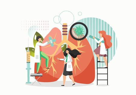 Lung inspection vector flat illustration. Huge human lungs, micro characters doctors with stethoscope, magnifying glass. Respiratory examination, pulmonology, lung disease treatment concept.