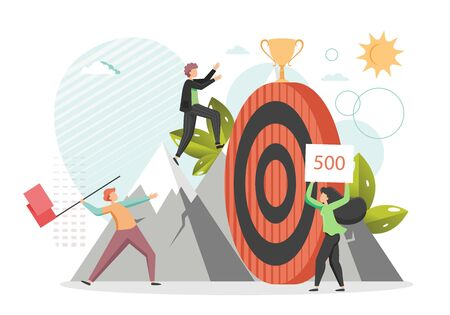 Confident businessman climbing the mountain to reach business goal trophy cup on huge target, vector flat style design illustration. Reach the target, career development, leadership concept. Иллюстрация