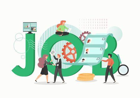 Job concept vector flat style design illustration. HR agency managers cartoon characters choosing best job candidate. Recruitment, hiring, employment process. HR management concept.