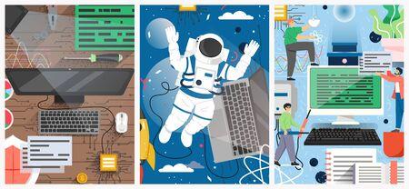 Quantum computing technology vector poster template set