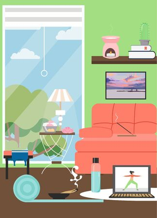 Home interior for stay home and do yoga theme poster, flyer, banner, flat style design illustration. Online yoga, stay at home in quarantine.