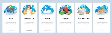 Finland website and mobile app onboarding screens vector template Illustration