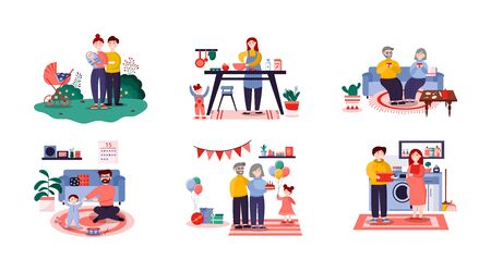 Family characters, vector flat illustration isolated on white background. Happy young and senior couples, family with newborn baby, mom and dad with their kids.
