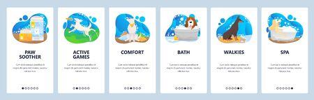Pet hotel website and mobile app onboarding screens vector template