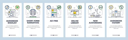 Audiobooks website and mobile app onboarding screens vector template