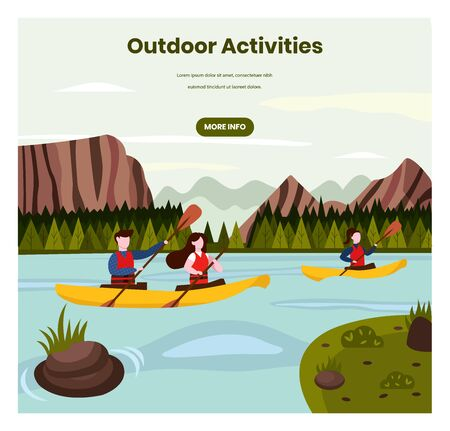 Outdoor activities vector web banner design template Ilustrace