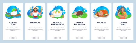 Cuba website and mobile app onboarding screens vector template Vettoriali