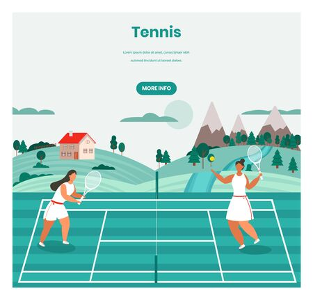 Tennis tournament, training, vector web banner template. Two girls playing tennis game on court, retro flat style design illustration. Racket sport concept.