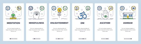 Meditation website and mobile app onboarding screens vector template