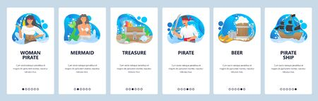 Pirates website and mobile app onboarding screens vector template