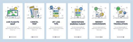 Travel website and mobile app onboarding screens vector template Иллюстрация