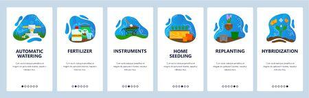 Gadening website and mobile app onboarding screens vector template