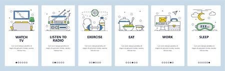 Habit tracking website and mobile app onboarding screens vector template 向量圖像