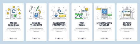 Thought tracking website and mobile app onboarding screens vector template