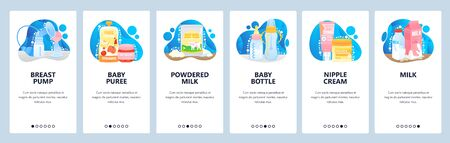 Baby food, powder milk and breastfeeding concept. Prepare to be mother. Mobile app screens. Vector banner template for website and mobile development. Web site design illustration Vettoriali