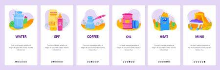 Desert icons set. Water, sunblock cream, arabic coffee, oil barrel, heat. Mobile app screens. banner template for website and mobile development. Web site design illustration. Çizim