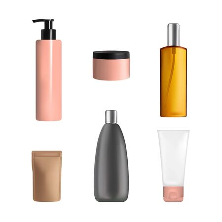 Body care cosmetics packaging mock up set, vector isolated illustration. Realistic plastic jar, tube, spray and pump bottles, stand up bag for cream lotion, gel, cosmetic milk other skincare products.