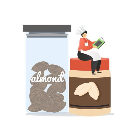 Man in chef uniform sitting on jar with almonds and reading recipe book, vector flat illustration. Delicious almond ice cream recipe, frozen dessert making process.