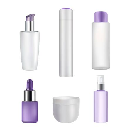 Hair care packaging mock up set, vector isolated illustration. Realistic cosmetic jar, spray, pump and dropper bottles for serum, shampoo, cream, spray, conditioner, mask and other hair products.