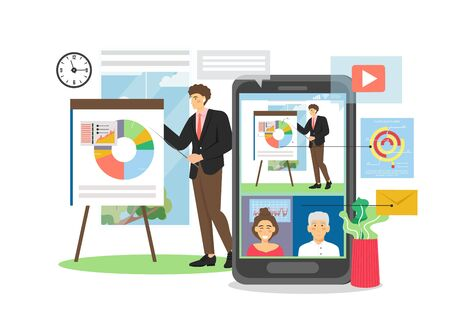Businessman giving presentation pointing at pie diagram on flip chart, webinar on mobile device, vector flat illustration. Business seminar, lecture, video conferencing, online business team meeting.