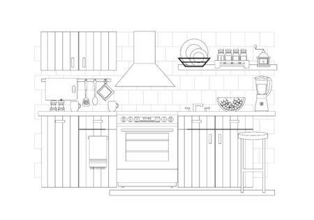 Kitchen interior, vector illustration in line art style. Kitchen furniture with electric cooker and oven, extractor hood, sink, home appliances, cookware and kitchenware.