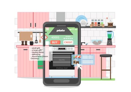 Kitchen interior with furniture, mobile phone with electric cooker and oven on screen, vector flat illustration. Online shopping store for kitchen and household appliances.