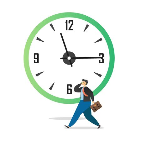 Miniature male character office man walking with briefcase and talking on the phone in front of huge clock, vector flat illustration. Time management, productivity, office time and daily routine. Stock Illustratie