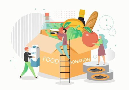 Food donation box, vector flat style design illustration Vectores